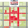 Austin Fan Fest Map: The red area indicates Fan Fest sponsorship stages and locations.