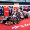 Daniel Ricciardo and Jean-Eric Vergne pose with the Toro Rosso STR8.
